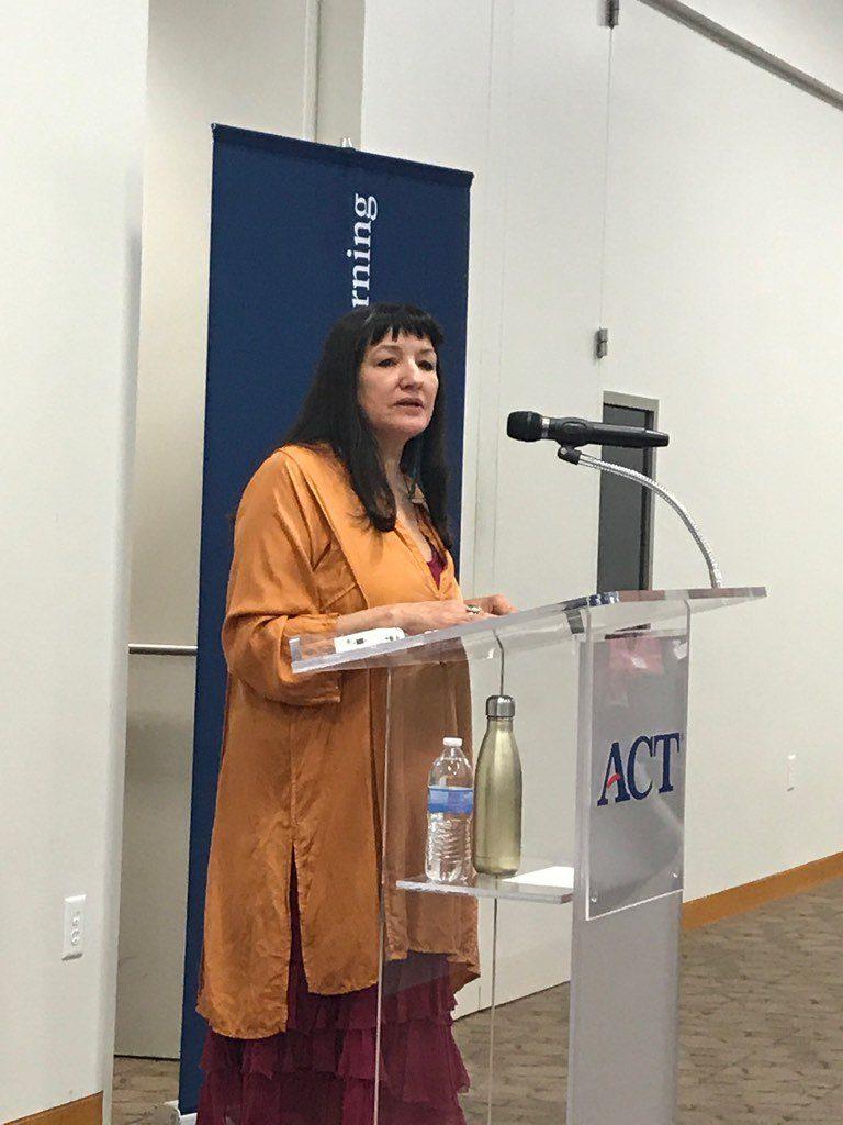 Sandra Cisneros speaking at the campus