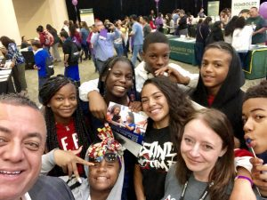 Students at the ACT booth
