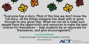Thankful quote from The Center for Equity in Learning leadership